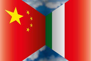 China VS Italy, flags on the blue sky, vector illustration