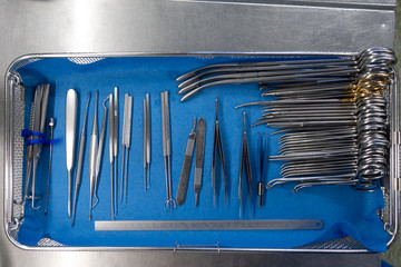 unsorted surgical instruments after cleaning in the washing machine