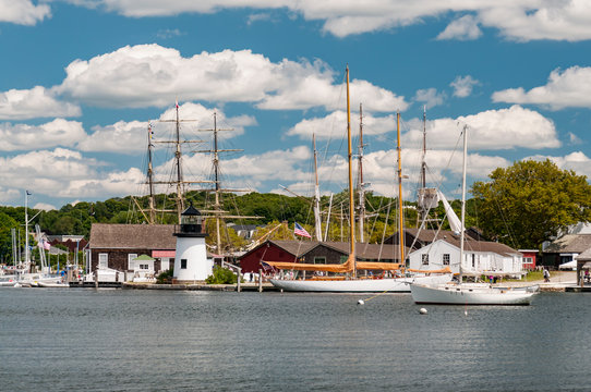 View of the Mystic Seaport with boats and houses, Connecticut