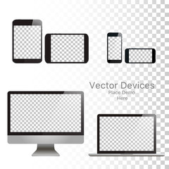 Set realistic vector devices on a isolated white background. Vector mockup. Blank Device template. Vector illustration