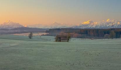 Frostiger Sonnenaufgang im Allägu mit den Allgäuer Alpen im Hintergrund