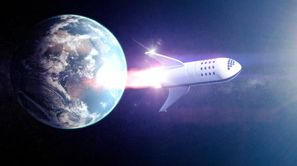 Concept spaceship  for space tourism around heart and Moon - 3D rendering - Elements of this image furnished by NASA