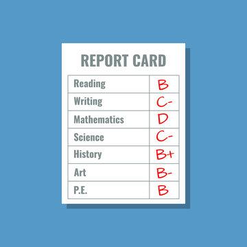 school report card with B C D grades, flat design vector illustration