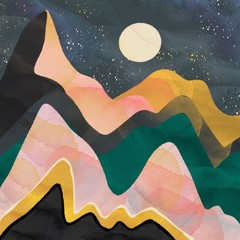 Abstract mountains, night sky and moon. Hand drawn colorful illustration