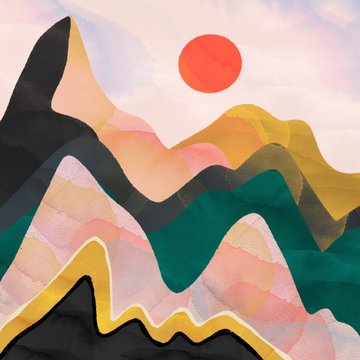 Abstract mountains and red sun. Hand drawn colorful illustration