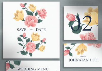 Wedding Suite with Yellow and Pink Flower Illustrations