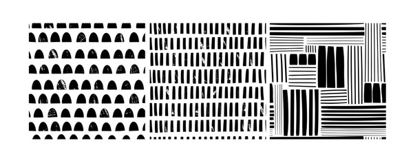 Wall Mural - Various lines and shapes. Stamp texture. Set of three black and white abstract seamless patterns. Hand drawn vector illustration. Every pattern is isolated