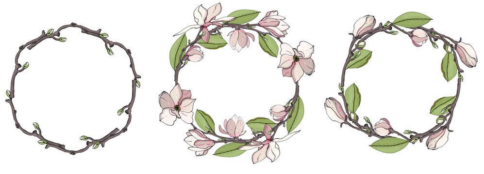 Set of stylish wreaths drawings. Graphic magnolia wreath. Vector floral frame template. Cute flowers arranged in the shape of a wreath is perfect for invitations and greeting cards.