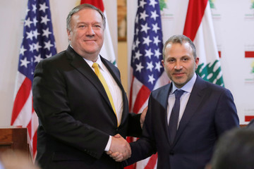 U.S. Secretary of State Mike Pompeo shakes hands with Lebanese Foreign Minister Gebran Bassil after a public statement in Beirut