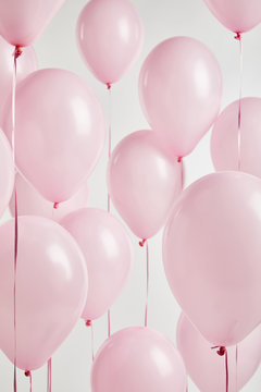 background with decorative pink balloons isolated on white