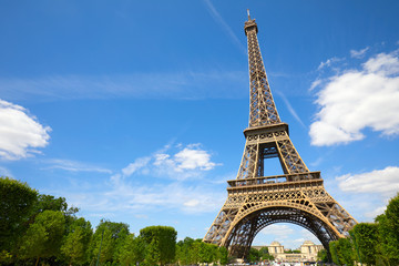 Eiffel Tower in Paris in a sunny summer day, blue sky and green trees