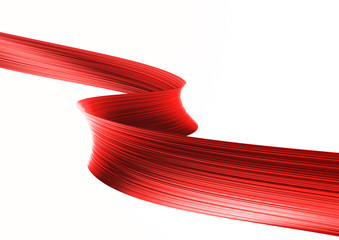 3d render red metallic ribbon isolated on white background. Foil shape in motion. Colorful digital art for promotion poster, sale banner, party flyer. Realistic design element.
