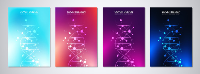 Vector template for cover or brochure, with molecules background and DNA strand. Medical or scientific and technological concept. Wall mural