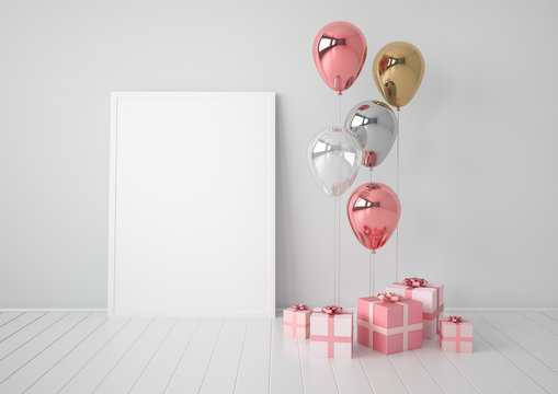 Interior mock up scene with pink and gold gift boxes and balloons. Realistic glossy 3d objects for birthday party or promo posters or banners. Empty space for poster size design element.