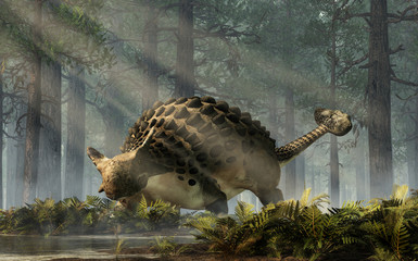 Ankylosaurus, one of the most popular dinosaurs, was a cretaceous era ornithischian herbivore. The armored dino stands in a forest of fir trees with a floor of ferns. 3D Rendering.  Wall mural