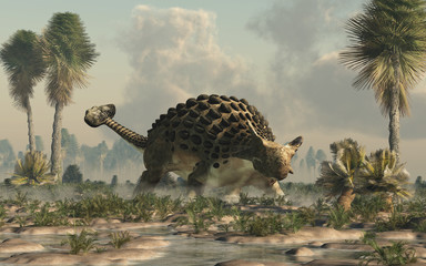 Ankylosaurus, one of the most popular dinosaurs, was a cretaceous era ornithischian herbivore.  The armored dino stands in a watery lowland. 3D Rendering.  Wall mural