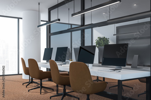 Modern dark office interior with work space  3D render