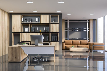 Manager office interior with lounge