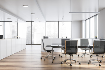 Modern white empty office interior with board table. 3D render. Wall mural