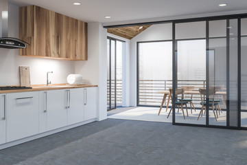 Modern disign kitchen interior with window and city veiw. 3d Render.