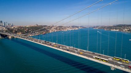 Aerial view of Istanbul Bosporus in Turkey