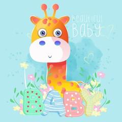 cute baby boy giraffe. vector