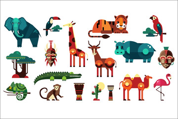Colorful vector collection of different African animals, plants and drums. Wild creatures of jungle. Birds and reptiles. Ethnic drums. Icons in geometric flat style