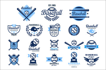 Set of American baseball logo. Original blue labels with balls, crossed bats, caps and wings. Sports club emblems. Design for team badge. Flat vector illustration