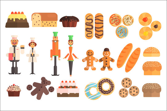 Set of various sweet pastry and bakers in working uniforms. Pies, baguettes, eclairs, muffins, cakes, donuts, gingerbread men, buns, bread, cookies. Flat vector design