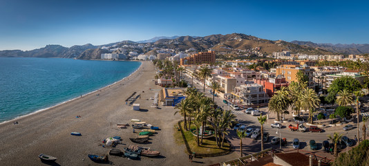 Poster de jardin Tunisie Almunecar aerial panorama of popular Spanish beach town with medieval castle in Andalusia Spain