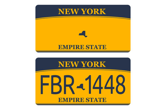 Vechicle registration of New York registration plates nummer car. Flat design EPS 10.