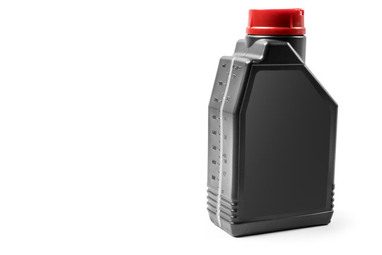 Plastic container for motor oil isolated on white background