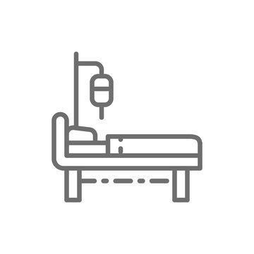 Hospital bed with medical equipments, intensive care, resuscitation line icon.