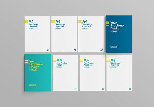 2 Brochures Top View with  Portfolios Mockup