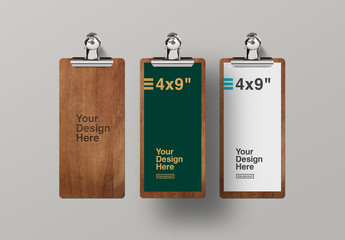 3 Thin Wooden Clipboards with Paper Mockup