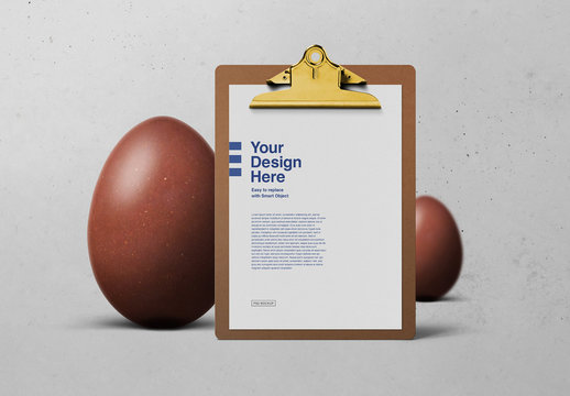 Easter Eggs and Clipboard Mockup