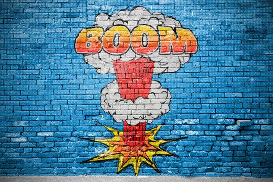 Boom Comic Explosion  Ziegelsteinmauer Graffiti