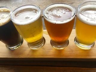 Beer samples on wooden board