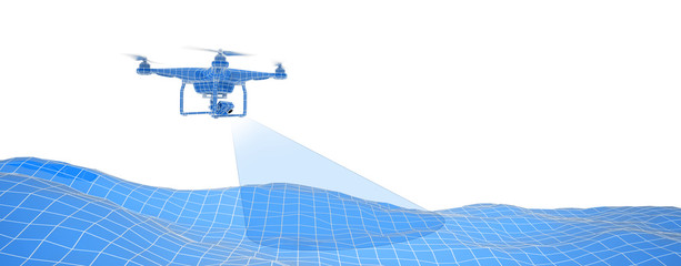 Blue drone over terrain mesh. Geo-scanning. Wire-frame style. Isolated in white background. 3D illustration.