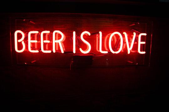 beer is love neon sign