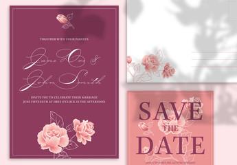 Warm Floral Wedding Stationery Set