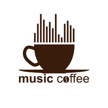 Simple music coffee logo, simple design