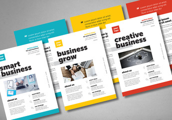 Business Flyer Layout with Blue, Red, or Yellow Accents
