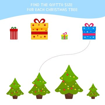 Matching children educational game. Match  of cartoon gifts and Christmas tree to size . Activity for pre school years kids and toddlers.