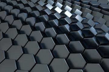 3d rendering, black hexagon cube, Computer digital drawing
