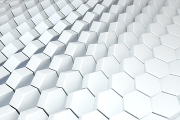 3d rendering, white hexagon cubes, Computer digital drawing