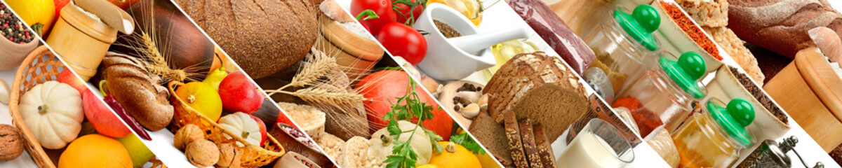 Wall Mural - Panorama food ingredients for healthy lifestyle.