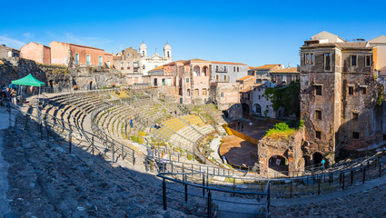 Panoramic view of ruins of the Roman theater of Catania (Teatro romano di Catania). Located in the historical center of Catania city, Sicily, Italy