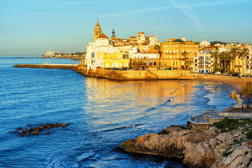Wall Mural - Sitges, Spain, a historical resort town on Costa Dorada
