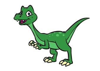 Raptor dinosaur cartoon illustration isolated image